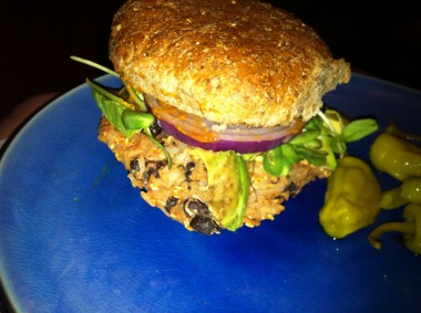 my pimped out black bean burger
